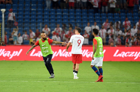 POZNAN, POLAND - MAY 08, 2018: International friendly game between Poland and Chileo  p: Arturo Vidal (Chile) Robert Lewandowski (Poland)