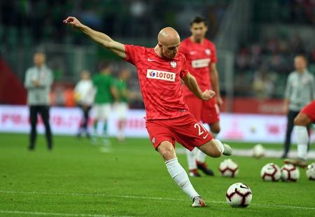 WROCLAW, POLAND - SEPTEMBER 11, 2018: International friendly game between Poland and Republic of Ireland  p: Rafal Kurzawa (Poland)