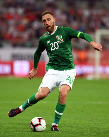 WROCLAW, POLAND - SEPTEMBER 11, 2018: International friendly game between Poland and Republic of Ireland op: Richard Keogh (Republic of Ireland) Editorial