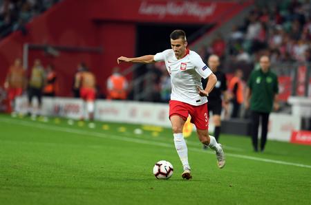 WROCLAW, POLAND - SEPTEMBER 11, 2018: International friendly game between Poland and Republic of Ireland op: Arkadiusz Reca (Poland) Editorial