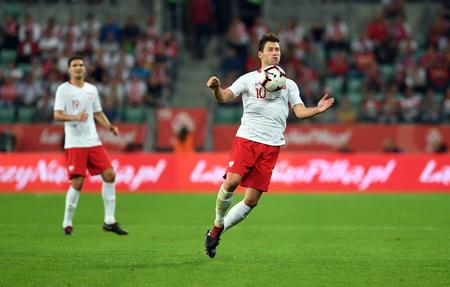 WROCLAW, POLAND - SEPTEMBER 11, 2018: International friendly game between Poland and Republic of Ireland op: Grzegorz Krychowiak (Poland) Editorial