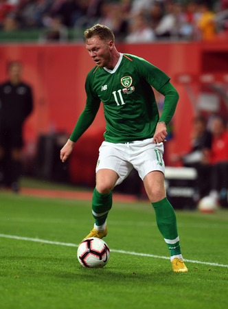 WROCLAW, POLAND - SEPTEMBER 11, 2018: International friendly game between Poland and Republic of Ireland  p: Aiden OBrien (Republic of Ireland)
