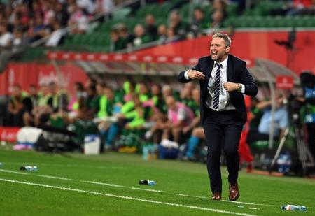 WROCLAW, POLAND - SEPTEMBER 11, 2018: International friendly game between Poland and Republic of Ireland  p: Jerzy Brzeczek Coach (Poland)