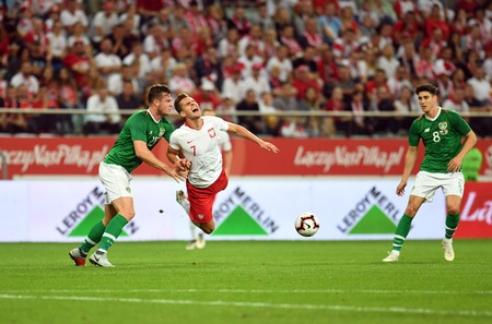 WROCLAW, POLAND - SEPTEMBER 11, 2018: International friendly game between Poland and Republic of Ireland  p: Kevin Long (Republic of Ireland) Arkadiusz Milik (Poland) Editorial