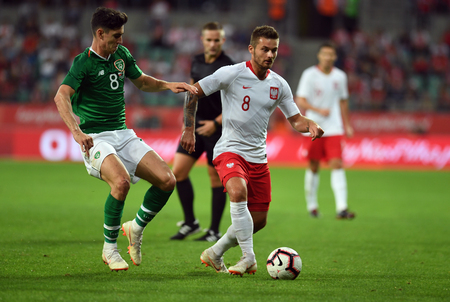 WROCLAW, POLAND - SEPTEMBER 11, 2018: International friendly game between Poland and the Republic of Ireland  p: Callum ODowda (Republic of Ireland) Karol Linetty (Poland) Editorial