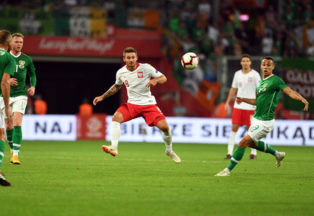 WROCLAW, POLAND - SEPTEMBER 11, 2018: International friendly game between Poland and the Republic of Ireland  p: Karol Linetty (Poland) Editorial