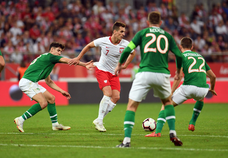 WROCLAW, POLAND - SEPTEMBER 11, 2018: International friendly game between Poland and Republic of Ireland  p: Arkadiusz Milik (Poland)