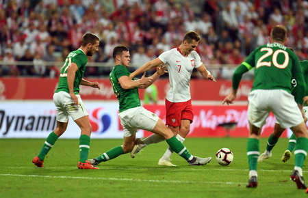 WROCLAW, POLAND - SEPTEMBER 11, 2018: International friendly game between Poland and Republic of Ireland / p: Kevin Long (Republic of Ireland) Arkadiusz Milik (Poland) Editorial