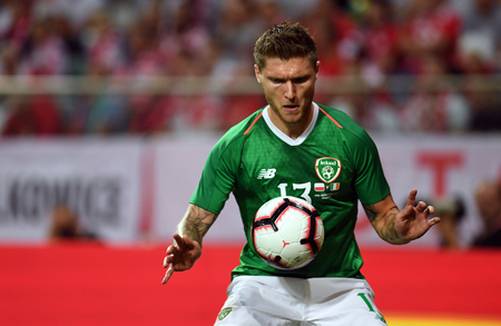 WROCLAW, POLAND - SEPTEMBER 11, 2018: International friendly game between Poland and Republic of Ireland / p: Jeff Hendrick (Republic of Ireland)