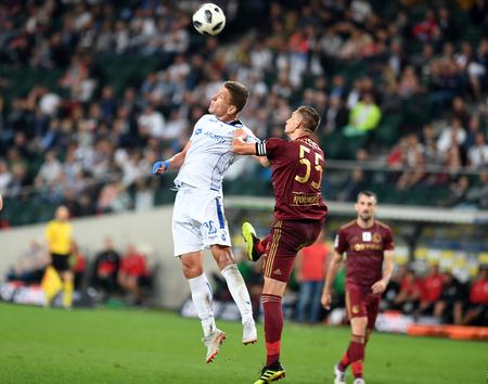 16 OCTOBER 2018 - WARSAW, POLAND: Polish Extra League LOTTO Ekstraklasa football match Legia Warszawa - Lech Poznano / p Rafal Janicki (Lech Poznan) Artur Jedrzejczyk (Legia Warsaw)