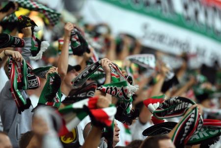 16 OCTOBER 2018 - WARSAW, POLAND: Polish Extra League LOTTO Ekstraklasa football match Legia Warsaw - Lech Poznano / p Legia fans