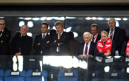 CHORZOW, POLAND - OCTOBER 14, 2018: UEFA Nations League Poland and Italyo / p: Zbigniew Boniek PZPN, Jerzy Buzek politician Stock Photo - 115120587