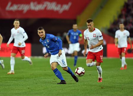 CHORZOW, POLAND - OCTOBER 14, 2018: UEFA Nations League Poland and Italy  p: Jorginho (Italy) Damian Szymanski (Poland)