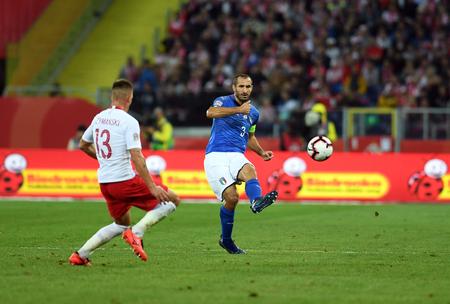 CHORZOW, POLAND - OCTOBER 14, 2018: UEFA Nations League Poland and Italyo  p: Damian Szymanski (Poland) Giorgio Chiellini (Italy)
