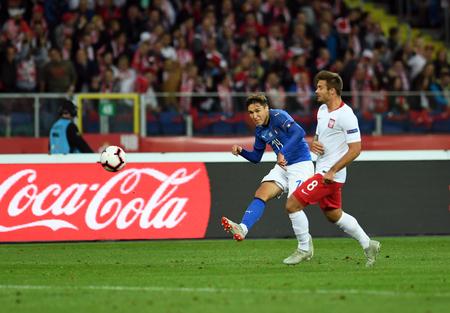 CHORZOW, POLAND - OCTOBER 14, 2018: UEFA Nations League Poland and Italyo / p: Federico Chiesa (Italy) Karol Linetty (Poland) Stock Photo - 115120610