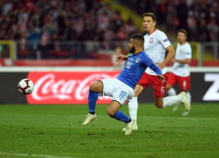 CHORZOW, POLAND - OCTOBER 14, 2018: UEFA Nations League Poland and Italyo  p: Lorenzo Insigne (Italy) Jan Bednarek (Poland)