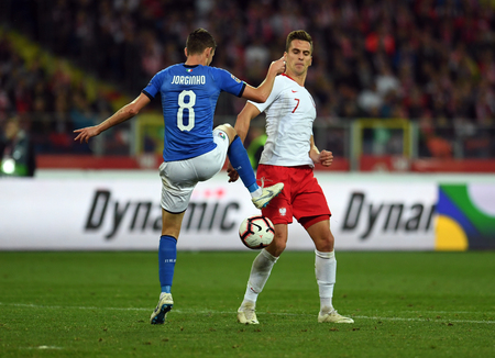 CHORZOW, POLAND - OCTOBER 14, 2018: UEFA Nations League Poland and Italy  p: Jorginho (Italy) Arkadiusz Milik (Poland)