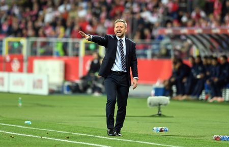 CHORZOW, POLAND - OCTOBER 14, 2018: UEFA Nations League Poland and Italy  p: Jerzy Brzeczek Coach (Poland) Editorial