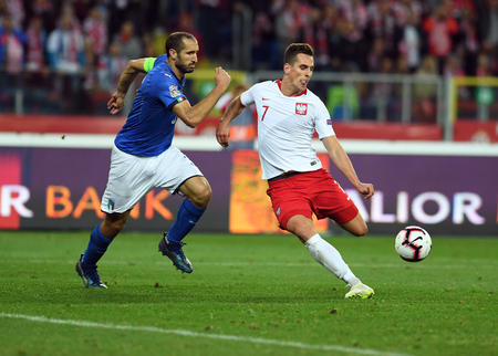 CHORZOW, POLAND - OCTOBER 14, 2018: UEFA Nations League Poland and Italy  p: Giorgio Chiellini (Italy) Arkadiusz Milik (Poland)