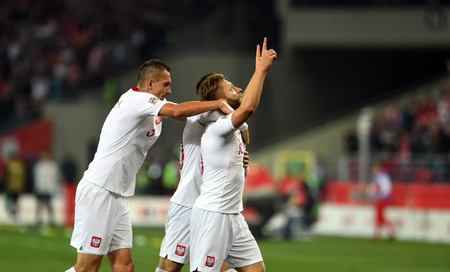 CHORZOW, POLAND - OCTOBER 11, 2018: UEFA Nations League Poland and Portugal / p: Jakub Blaszczykowski (Poland) celebrates his goal Stock Photo - 115120644