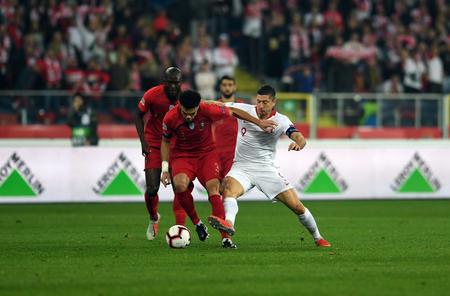 CHORZOW, POLAND - OCTOBER 11, 2018: UEFA Nations League Poland and Portugal / p: Pepe (Portugal) Robert Lewandowski (Poland) Stock Photo - 115120647