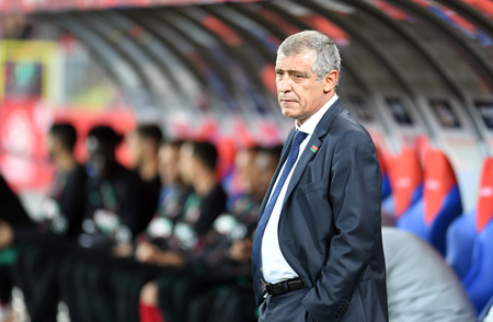 CHORZOW, POLAND - OCTOBER 11, 2018: UEFA Nations League Poland and Portugal  p: Fernando Santos coach (Portugal) Editorial