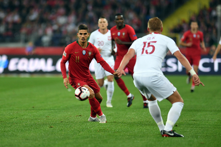 CHORZOW, POLAND - OCTOBER 11, 2018: UEFA Nations League Poland and Portugal  p: Andre Silva (Portugal)
