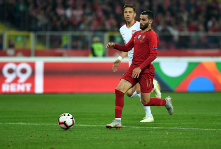 CHORZOW, POLAND - OCTOBER 11, 2018: UEFA Nations League Poland and Portugal  p: Rafa Silva (Portugal) Editorial