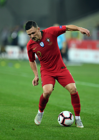 CHORZOW, POLAND - OCTOBER 11, 2018: UEFA Nations League Poland and Portugal  p: Mario Rui (Portugal) Editorial