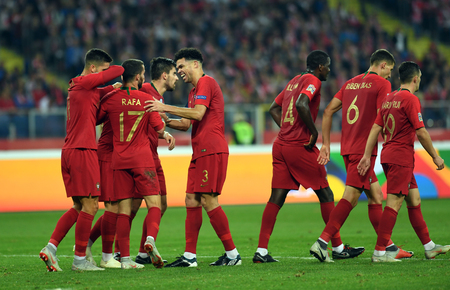CHORZOW, POLAND - OCTOBER 11, 2018: UEFA Nations League Poland and Portugal  p: Goal for Portugal Pepe (Portugal) Editorial