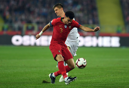 CHORZOW, POLAND - OCTOBER 11, 2018: UEFA Nations League Poland and Portugal / p: Pepe (Portugal) Krzysztof Piatek (Poland) Editorial