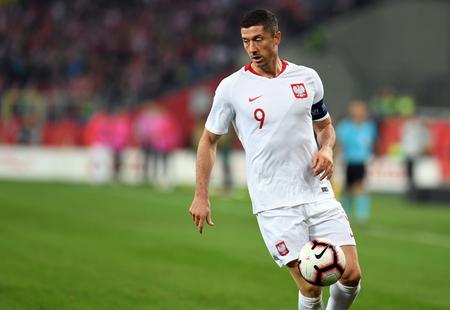 CHORZOW, POLAND - OCTOBER 11, 2018: UEFA Nations League Poland and Portugal  p: Robert Lewandowski (Poland) Editorial