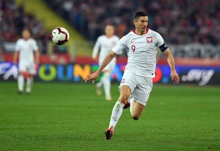 CHORZOW, POLAND - OCTOBER 11, 2018: UEFA Nations League Poland and Portugal  p: Robert Lewandowski (Poland) Editorial