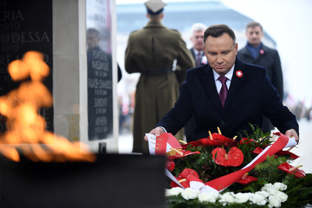 WARSAW, POLAND - OCTOBER 11, 2018: celebration of the 100th anniversary of regaining independence by Poland in front of Tomb of the Unnown Soldiero  p: Andrzej Duda Editorial