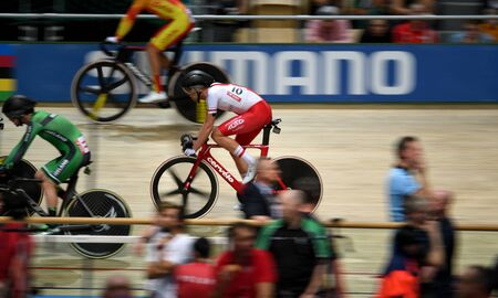 PRUSZKOW, POLAND - MARCH 03, 2019: UCI track cycling world championships by TISSOT Stock Photo - 128140579