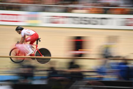 PRUSZKOW, POLAND - MARCH 03, 2019: UCI track cycling world championships by TISSOT Stock Photo - 128140583