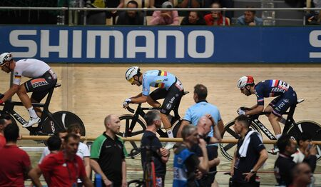 PRUSZKOW, POLAND - MARCH 03, 2019: UCI track cycling world championships by TISSOT Stock Photo - 128140582