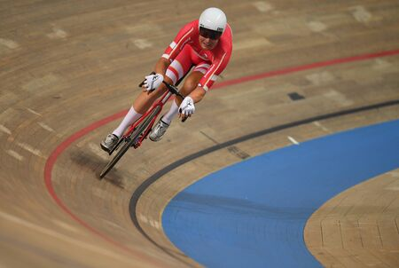 PRUSZKOW, POLAND - MARCH 03, 2019: UCI track cycling world championships by TISSOT Stock Photo - 128140591