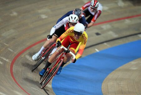 PRUSZKOW, POLAND - MARCH 03, 2019: UCI track cycling world championships by TISSOT Stock Photo - 128136893