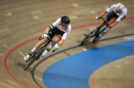 PRUSZKOW, POLAND - MARCH 03, 2019: UCI track cycling world championships by TISSOT Stock Photo - 128140598