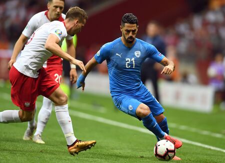 Warsaw, Poland, June 10, 2019: EURO 2020 qualifing round, group stage, Poland wins 4: 0 with Izarel on PGE Narodowy. Beram Kayal (Israel)