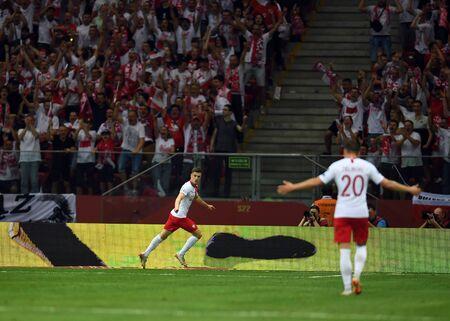 Warsaw, Poland, June 10, 2019: EURO 2020 qualifing round, group stage, Poland wins 4: 0 with Izarel on PGE Narodowy. Krzysztof Piatek (Poland) celebrates his goal 報道画像