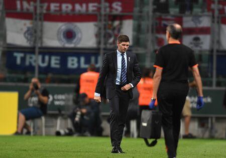Warsaw, Poland, August 22, 2019: UEFA Europa League qualification round Legia Warsaw - Glasgow Rangers FC: Steven Gerrard coach (Rangers FC) Editorial