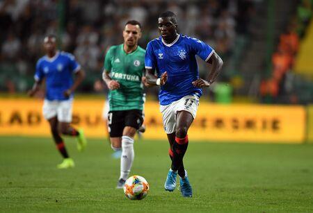 Warsaw, Poland, August 22, 2019: UEFA Europa League qualification round Legia Warsaw - Glasgow Rangers FC: Sheyi Ojo (Rangers FC) in action Editorial