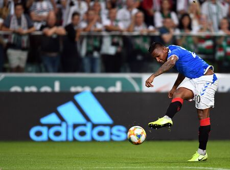 Warsaw, Poland, August 22, 2019: UEFA Europa League qualification round Legia Warsaw - Glasgow Rangers FC: Alfredo Morelos (Rangers FC) in action