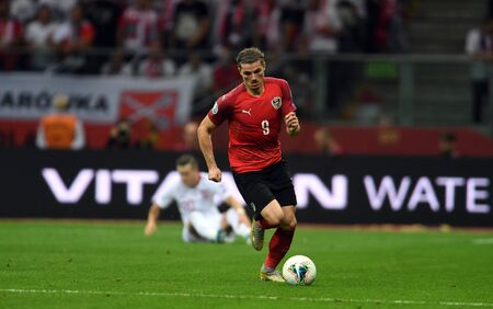Warsaw, Poland, September 9, 2019: EURO 2020 qualifing round, group stage, Poland draws 0: 0 with Austrial on PGE Narodowy. Marcel Sabitzer (Austria)