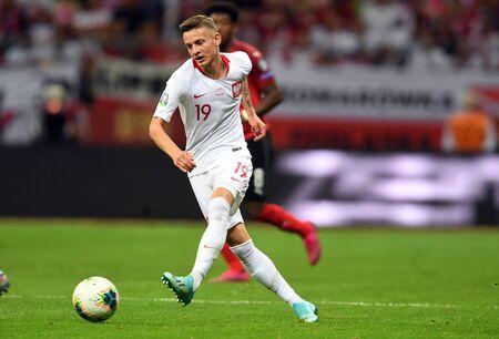 Warsaw, Poland, September 9, 2019: EURO 2020 qualifing round, group stage, Poland draws 0: 0 with Austrial on PGE Narodowy. Sebastian Szymanski (Poland)