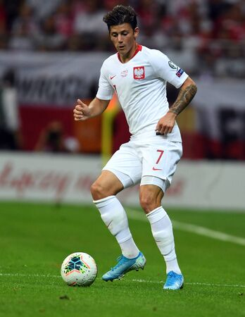Warsaw, Poland, September 9, 2019: EURO 2020 qualifing round, group stage, Poland draws 0: 0 with Austrial on PGE Narodowy. Dawid Kownacki (Poland) Редакционное