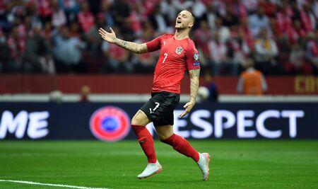 Warsaw, Poland, September 9, 2019: EURO 2020 qualifing round, group stage, Poland draws 0: 0 with Austrial on PGE Narodowy. Marko Arnautovic (Austria)