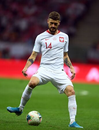 Warsaw, Poland, September 9, 2019: EURO 2020 qualifing round, group stage, Poland draws 0: 0 with Austrial on PGE Narodowy.Mateusz Klich (Poland)